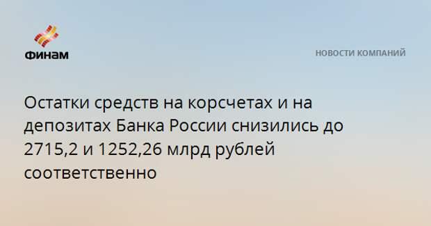 Остатки средств на корсчетах и на депозитах Банка России снизились до 2715,2 и 1252,26 млрд рублей соответственно