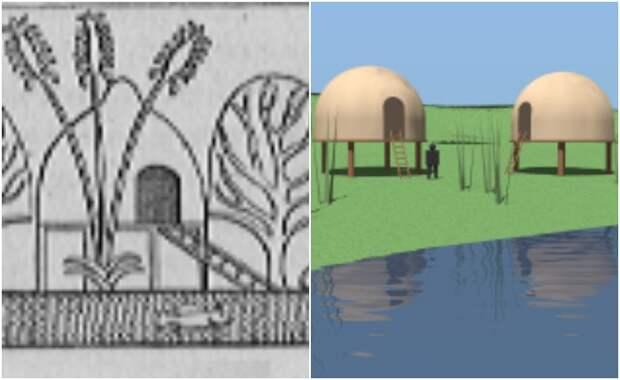Рисунок древнеегипетского рельефа и современное изображение хижин Пунта