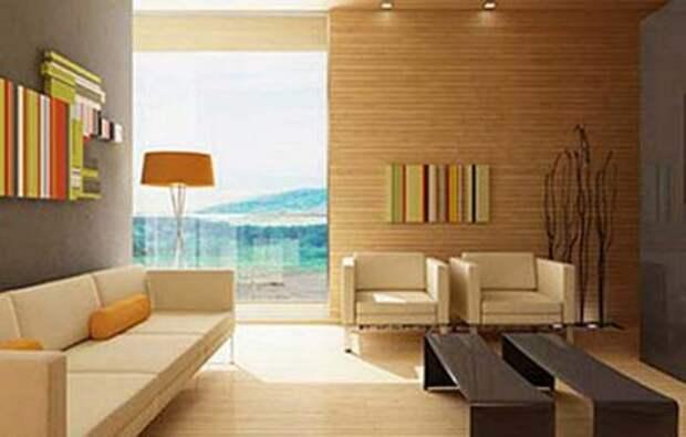 бамбуковые панели в интерьере гостиной
