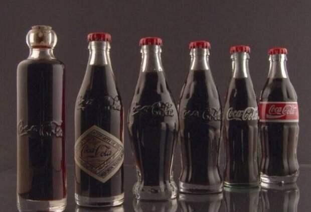 """Как менялись бутылки """"Кока-колы"""" - 1899, 1900, 1915, 1916, 1957, 1986"""