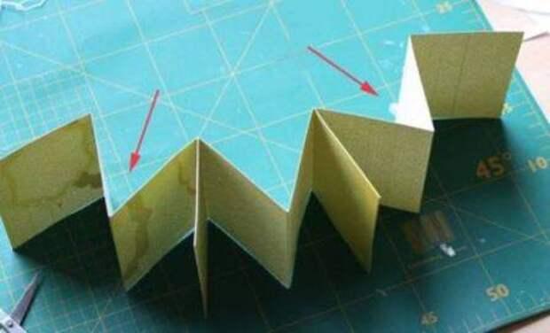 Сложите ленту гармошкой и соедините квадраты с помощью двустороннего скотча. У вас получилась сердцевина мини-альбома.