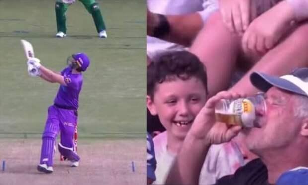 Пожилой фанат крикета поймал мяч своим пивным стаканом во время матча (2 фото + 1 видео)