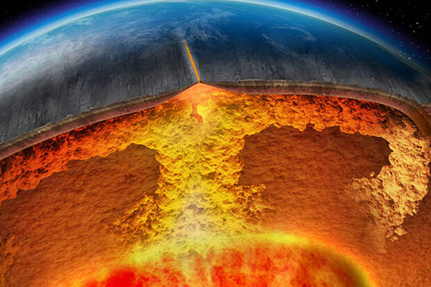 Computer-generated imagery depicting the perpetual convection of hot plumes of rock from the earth's core to its crust.