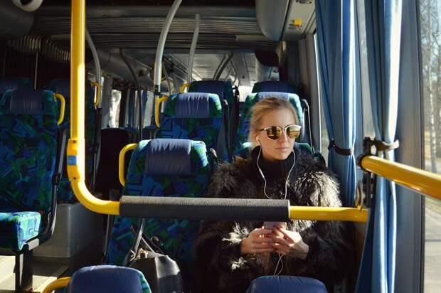 Автобус, Девочка, Наушники, Прослушивание, Транспорт