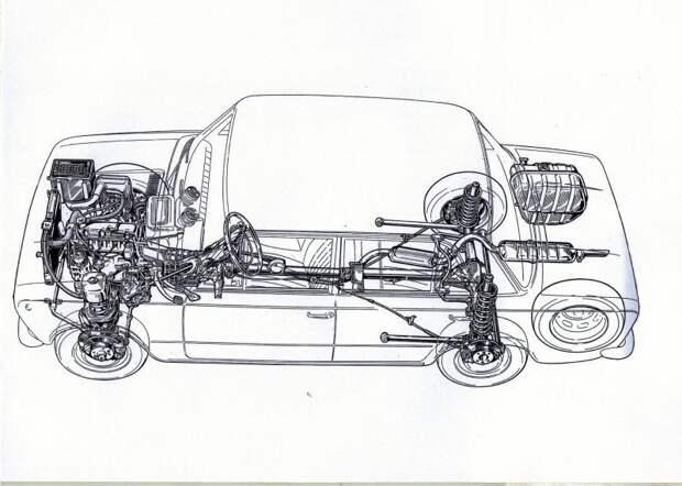 Традиционная заднеприводная схема серийного 124-го. Обратите внимание на тормозные диски по кругу fiat, fiat 124, авто, автоистория, автомобили, ваз, ваз 2101, жигули