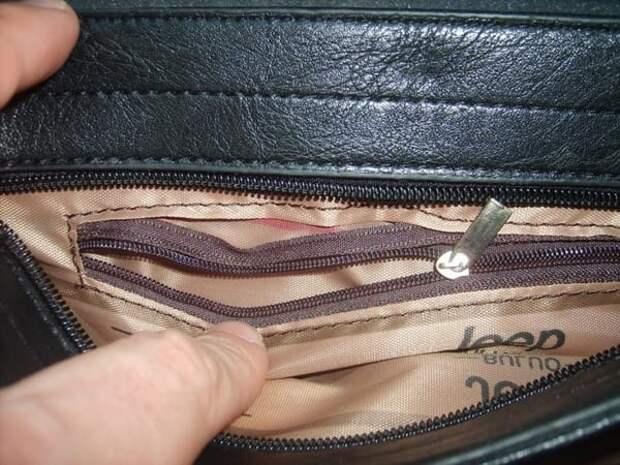 карман с молнией внутри сумки
