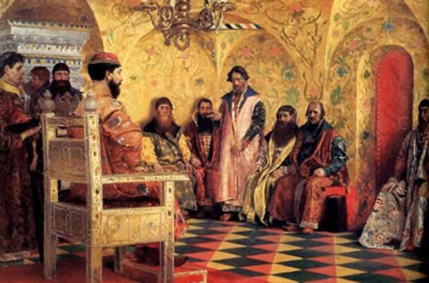 А.П. Рябушкин. Сидение царя Михаила Федоровича с боярами в его государевой комнате