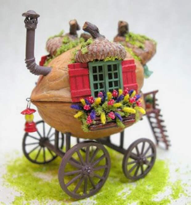 Щёлкаем орешки: скорлупа грецкого ореха как материал для вашего творчества, фото № 49