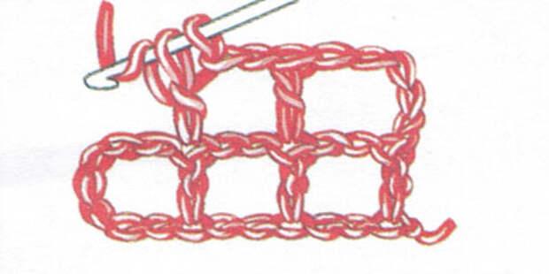 Филейная сетка с пустыми и заполненными клеточками, выполненная столбиками с накидом (фото 4)