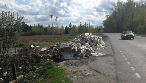 Неизвестные выбросили строительный мусор на обочине дороги в Подольске