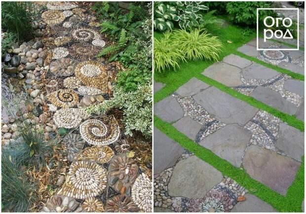 мозаика из гальки и камней, садовая дорожка