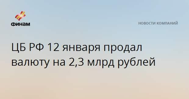 ЦБ РФ 12 января продал валюту на 2,3 млрд рублей