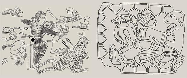 Слева: Прорисовка изображения на пластине из слоновой кости из Тахти-Сангин – городища, расположенного в Южном Таджикистане. Б. А. Литвинский считает, что изображения отражают реальную охотничью жизнь бактрийских аристократов. Они появились под влиянием сасанидской иконографии и относятся к III в. н. э. (Литвинский, 2010). Существуют и иные мнения. Так, Г. А. Пугаченкова обосновывает датировку этих образов в пределах рубежа н. э. плюс-минус два-три десятилетия (Пугаченкова, 1989). Эта точка зрения, кажется, подтверждается находкой вышитого на шелке всадника из надежно датированного 20-го ноин-улинского кургана (Чистякова, 2009; Миняев и др., 2010). Справа: Прорисовка бляхи из Кочковатки (случайная находка). Изображены мужчина монголоидного облика и хищник кошачьей породы. Зверь показан с повернутой навстречу мужчине головой. Мужчина одет в подпоясанную рубаху с расширяющимися книзу рукавами. Волосы мужчины зачесаны назад и собраны в пучок на затылке. Его прическу сравнивают с буддийскими портретами Гандхары. Изображение датировано I в. до н. э. — I в. н. э. (Мордвинцева, 2003)