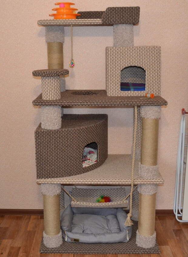 Большой игровой домик-комплекс для кошки своими руками