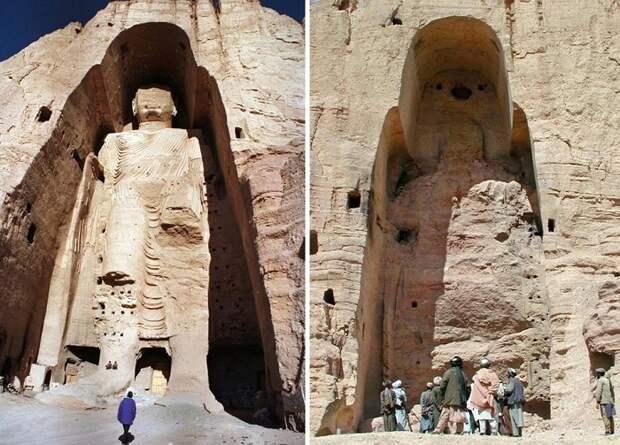 Статуя Будды в Бамианской долине и то, что от нее осталось после взрыва противотанковых мин.   Фото: a.d-cd.net.