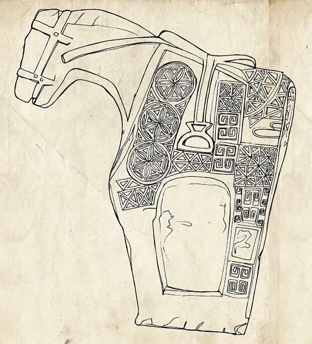 Памятники в виде каменных изваяний лошади. Казахский район (вверху), Лачинский район (внизу). Азербайджан. Прорисовка. По: (Нейматова, 1981)