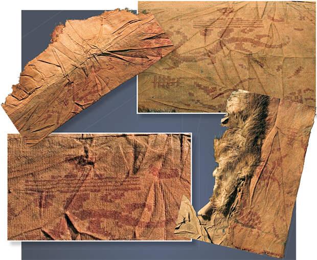 Фрагменты шелковой отделки верхней одежды с изображением дракона, Фуси, черепах, фениксов, древнего иероглифа. 20-й ноин-улинский курган