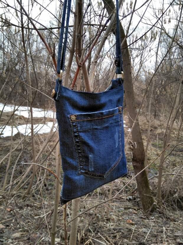 Сумка из джинсовых обрезков