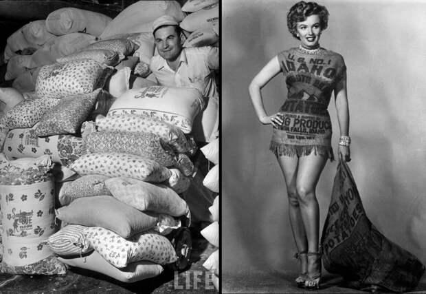 Компания Kansas Wheat показывает новые расцветочки мешков «для модниц».  Фото: LIFE. Справа: Мэрилин Монро, её история рассказана в самом конце публикации.