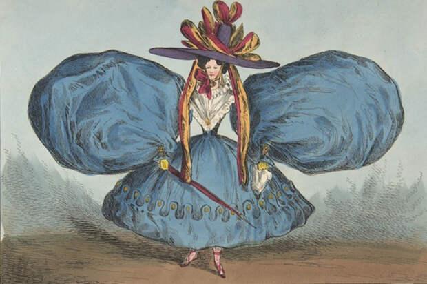 Любопытный крой рукавов. Карикатура Уильяма Хита. 1829 год