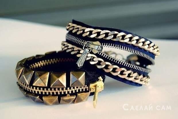 Модный браслет на молнии своими руками