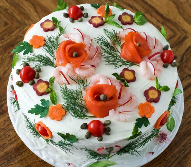 Цветочное оформление салата оливье.