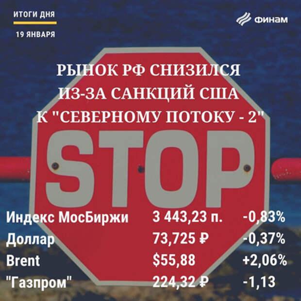 """Итоги вторника, 19 января: Санкции в отношении """"Серверного потока-2"""" подпортили настроения"""