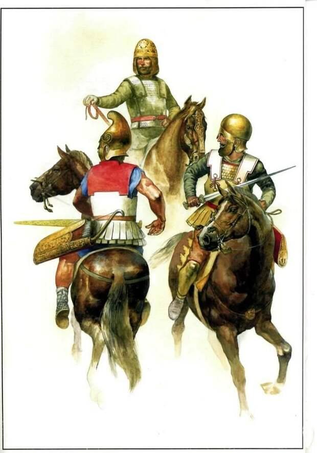 Конница Боспорского царства: скиф, македонец и фракиец. Современная иллюстрация.