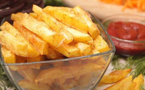 Картошка с хрустящей корочкой без капли масла. Вместо фритюра сделали в духовке, использовав маринад