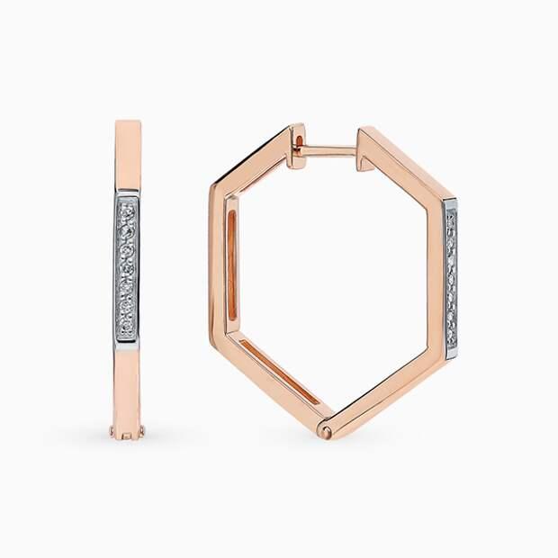 Серьги SL, розовое золото, бриллианты
