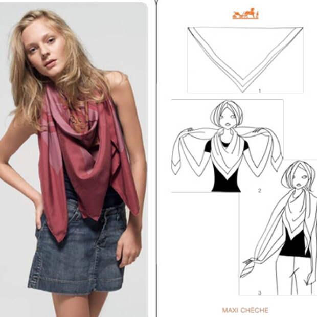 Hermes: модные варианты, как носить платок