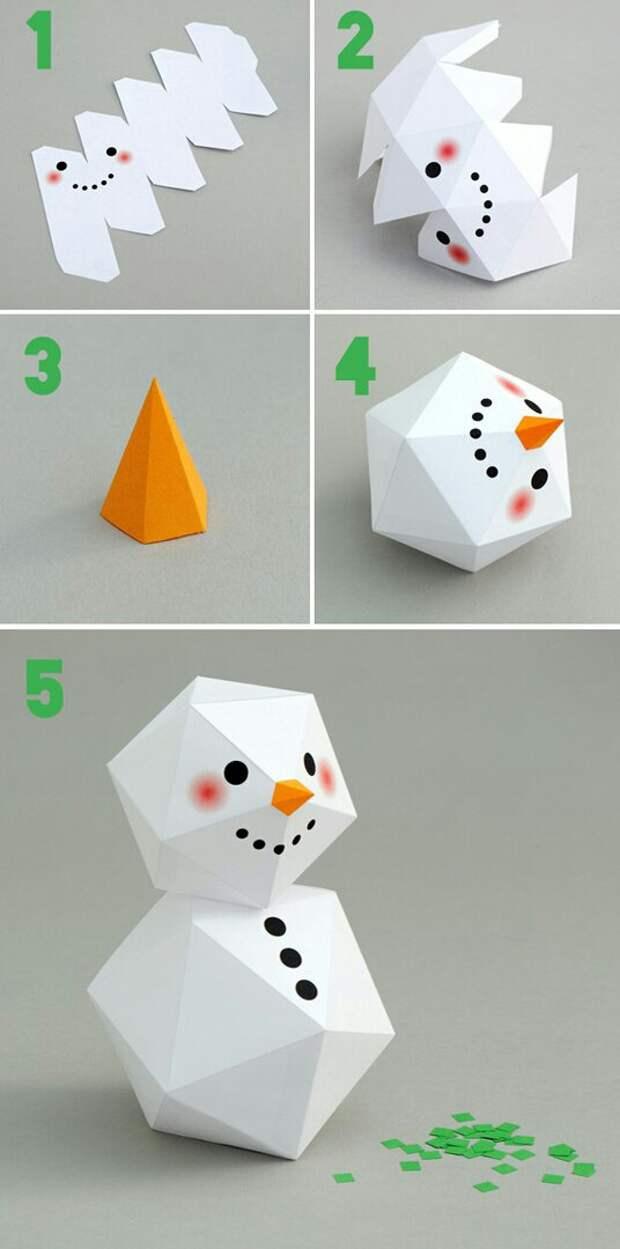 Бумажный снеговик 3D DIY