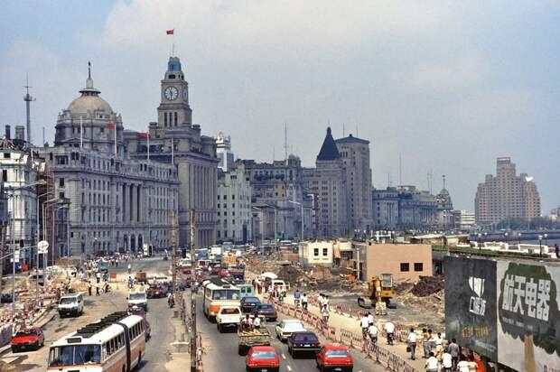 Реконструкция набережной Бунд в Шанхае, 1992 год: 1992, СССР, дорожное движение, капиталистические страны, прошлый век, соц. страны, страны третьего мира, улицы