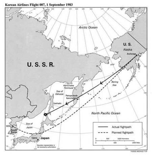 Плановый и реальный маршрут «корейского боинга»