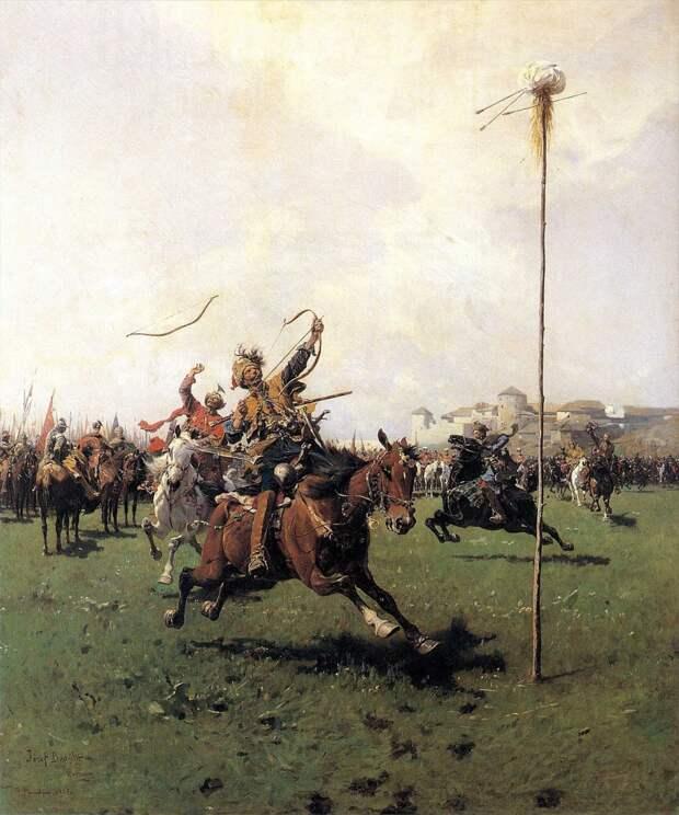 Лисовчики, упражняющиеся в стрельбе из лука, 1885. <br>