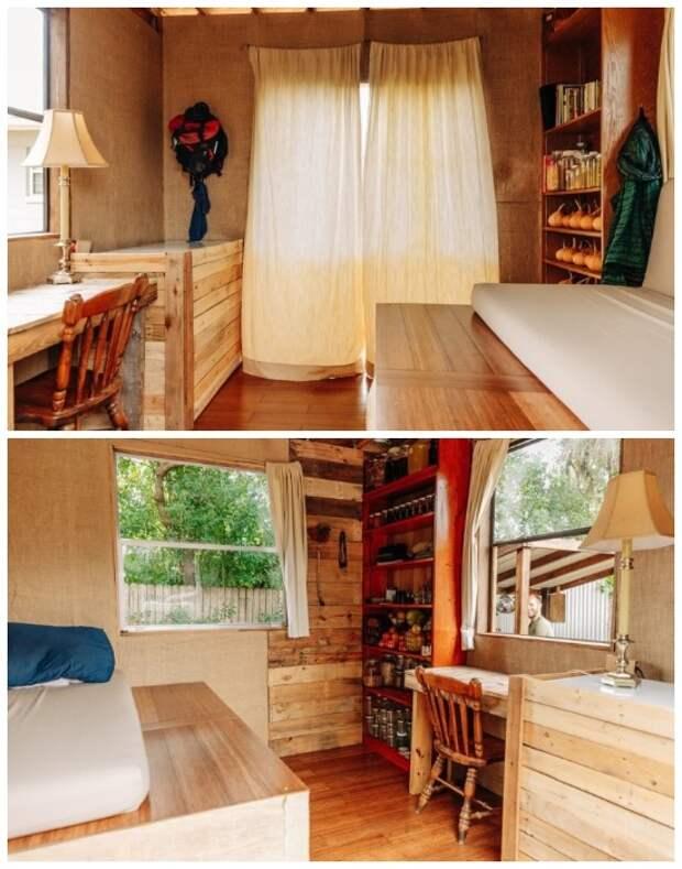 Интерьер и сам крошечный дом Роба Гринфилда создан исключительно из вторсырья или переработанных материалов («Teeny Greeny», США).   Фото: robgreenfield.tv.