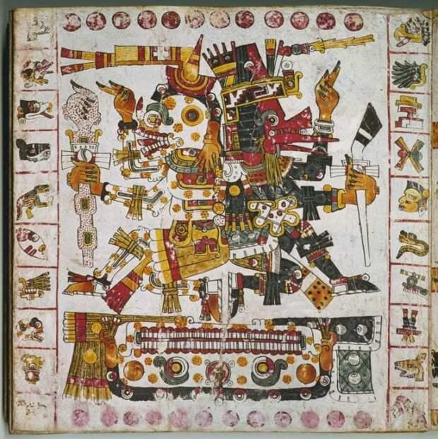 Ацтекские боги Миктлантекухтли (слева) и Эхекатль (справа) на стр. 56 Кодекса Борджиа, 1250-1521 гг. \ Фото: pinterest.com.