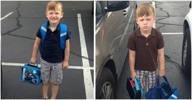 18 смешных фото детей до и после их первого дня в школе