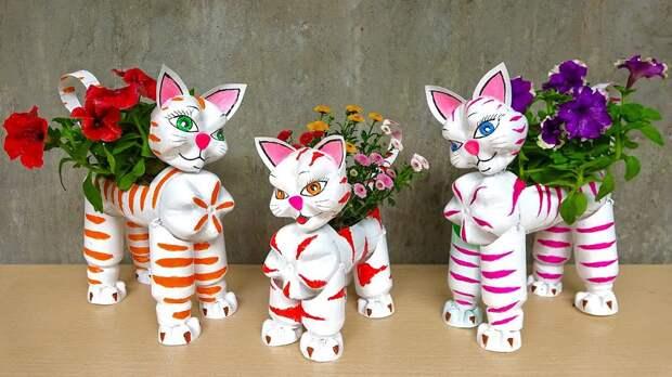 Кошки-симпатяшки для цветов! Легко сделать из простых материалов