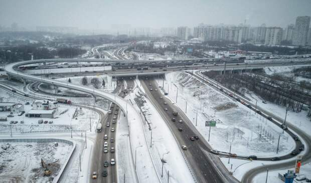 """Строительство развязки на Волоколамском шоссе. Фото АГН """"Москва"""""""
