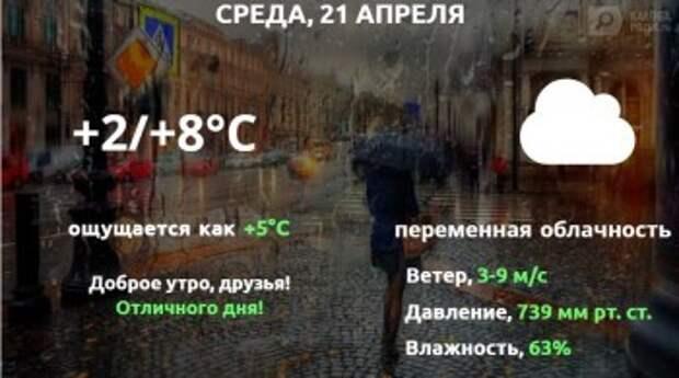 Прогноз погоды в Калуге на 21 апреля