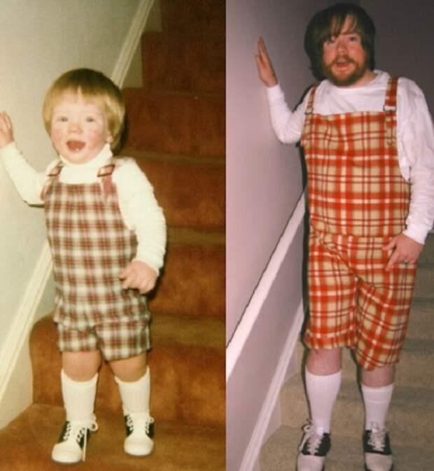 Блогеры пересняли свои детские фотографии 20 лет спустя
