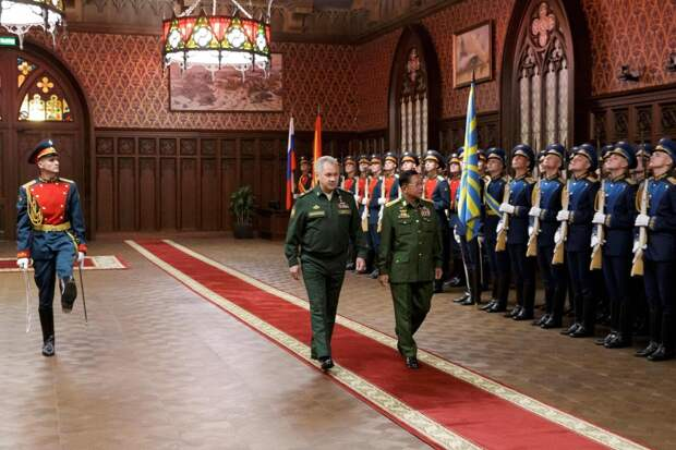 Russian Defence Minister Sergei Shoigu, left, and Commander-in-Chief of Myanmar's armed forces, Senior General Min Aung Hlaing prior to their talks in Moscow. Russia is pivoting towards Southeast Asia, and extending its hands to the reclusive Myanmar junta.AFP