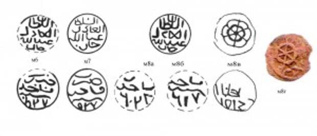 Рис.3. м6 - пул Абдаллаха, Маджар 427/764 г.х.; м7 – тоже, но 527/765 г.х.; м8а – тоже, но 628/766 г.х.; м8б – тоже, но 217/766 г.х.; м8в – пул Абдаллаха, забитый н/ч «колесо». м8г - тоже (фото).