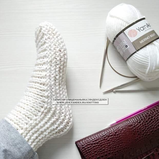 Носки без заморочек на 2 спицах из прямоугольника: детям и взрослым