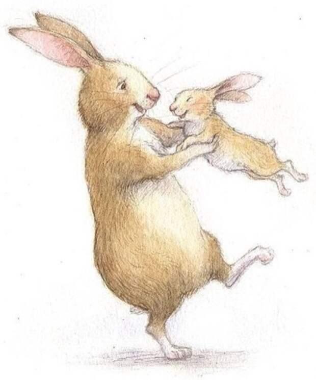 Маленький зайчонок улыбнулся маме