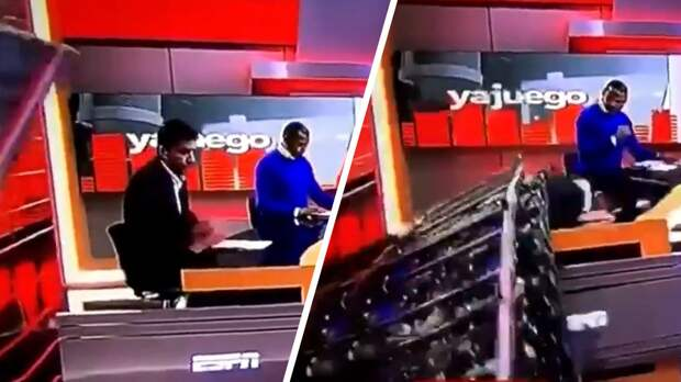 На спортивного журналиста в прямом эфире рухнула декорация. Видео шокирующего инцидента