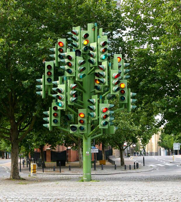 Дерево-светофор, Лондон, Великобритания, Европа