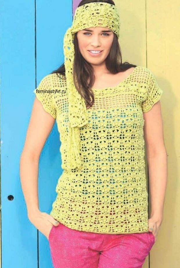 Пуловер и шарф крючком