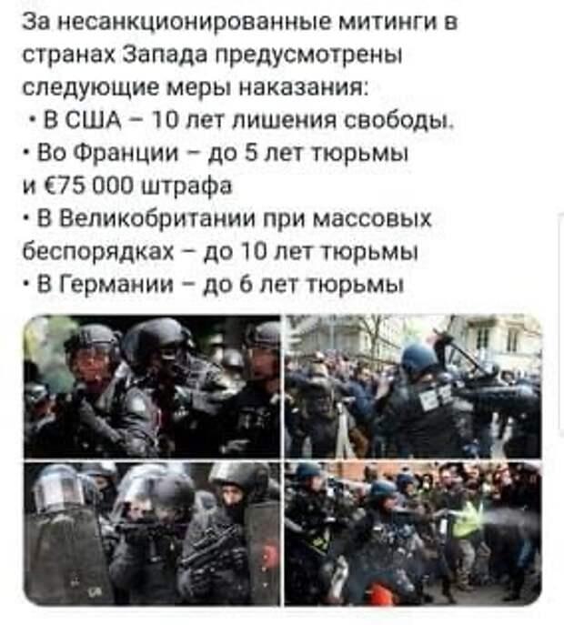 О мерах наказания за протесты в странах Запада